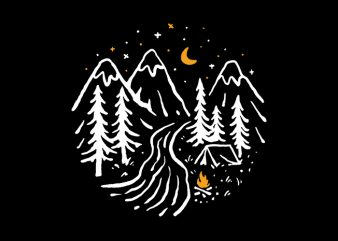Night Camping design for t shirt