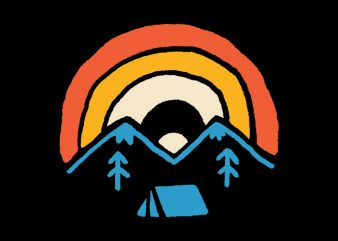 Camp and Rainbow t-shirt design for commercial use