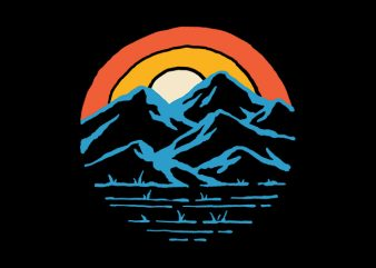 Mountain and Rainbow ready made tshirt design