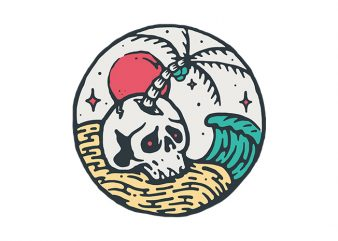 Skull and Beach t shirt design for download