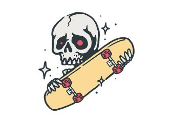 Skull Love Skateboard commercial use t-shirt design
