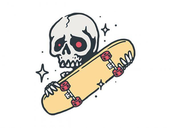 Skull Love Skateboard commercial use t-shirt design