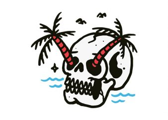 Skull Coconut Trees design for t shirt t-shirt design for commercial use