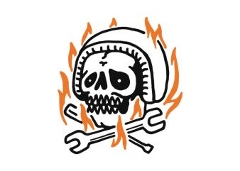 Skull Biker Fire t-shirt design png