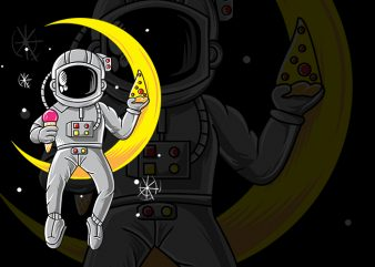 Astronout Chill with Pizza and ice cream at Moon t shirt design for purchase