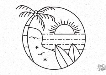 Surf line art stamp in modern flat style. Paradise t-shirt design for sale