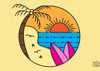 Surf line art stamp in modern color flat style. Paradise beach illustration with palm tree, ocean waves and surfboard. shirt design png