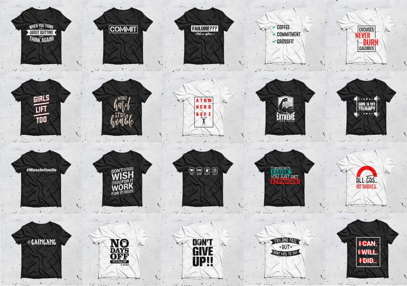 20 GYM T shirt designs for commercial use
