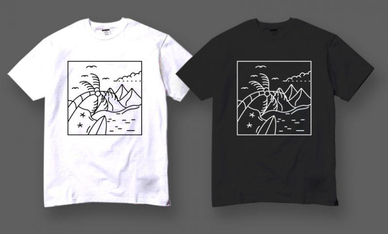 50 Spring Summer Vector Design Bundles , Line art, Minimal ,tattoo style t shirt design for download