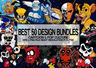 Best 50 Design Bundles cartoon & Pop cultre design