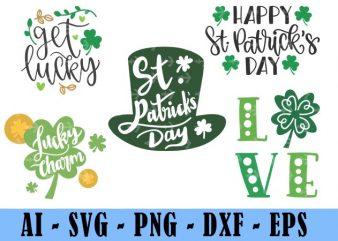 5 Design Saint Patrick Day Svg Bundle, Irish Svg, Png, Eps, Lucky Svg, St Paddy Day Svg, Shamrock Svg, Horseshoe Svg – Clover Leaf Svg 1
