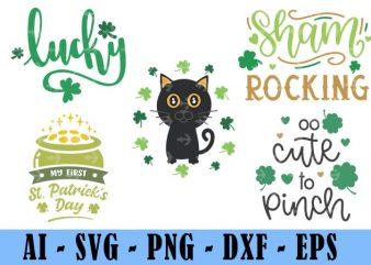 5 Design Saint Patrick Day Svg Bundle, Irish Svg, Png, Eps, Lucky Svg, St Paddy Day Svg, Shamrock Svg, Horseshoe Svg – Clover Leaf Svg 7