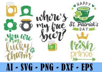 5 Design Saint Patrick Day Svg Bundle, Irish Svg, Png, Eps, Lucky Svg, St Paddy Day Svg, Shamrock Svg, Horseshoe Svg – Clover Leaf Svg 23