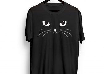 Black CAT graphic t-shirt design for sale