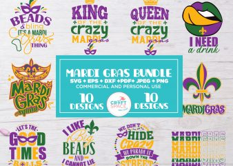Mardi Gras Bundle SVG, PNG, EPS, Jpeg, Dxf, Pdf, Clipboard for print or cut Cameo and Cricut