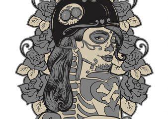 Bad Girl Muerte t shirt design