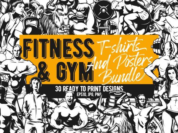Fitness & Gim Bundle t shirt graphic design