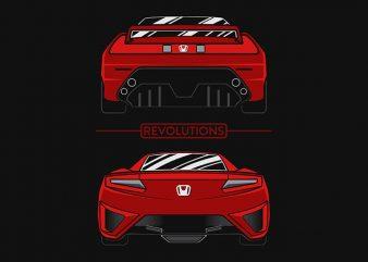 Car NSX Revolution t-shirt design for sale