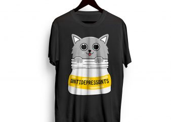 CAT – Antidepressants – Meow – cat pet Lovely t shirt design SVG EPS AI and PNG