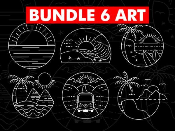 6 Design Bundle Spring Summer Holiday Line art t shirt design for download