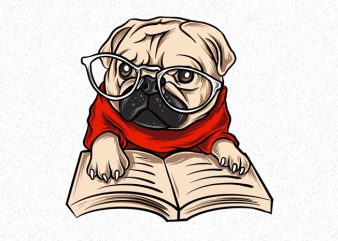 Nerd Pug Dog Puppies PNG Transparent Background print ready t shirt design
