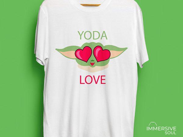 Baby Yoda Love T-Shirt Design