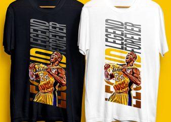 Kobe Bryant The Legend Forever T-Shirt Design for Commercial Use