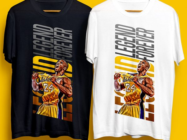 Kobe Bryant The Legend Forever T-Shirt Design for Commercial Use