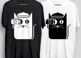 Cat Camera T-Shirt Design for Commercial Use