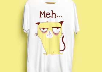 Meh Cat T-Shirt Design for Commercial Use