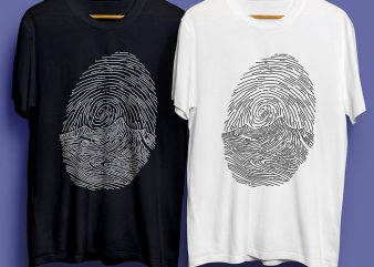 Thumb Print Art T-Shirt Design for Commercial Use