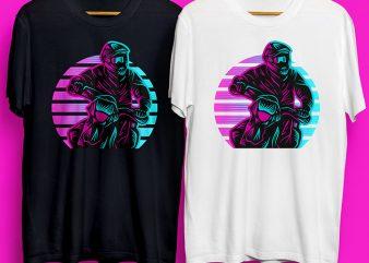 Motocross in Sunset Design for Commercial Use buy t shirt design for commercial use