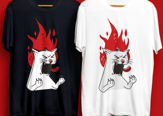 Raging Cat Design for Commercial Use t-shirt design for sale