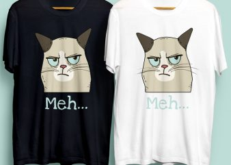 Meh Cat for Commercial Use t shirt design template