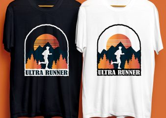 Ultra Runner Near Mountain for Commercial Use t shirt design for sale