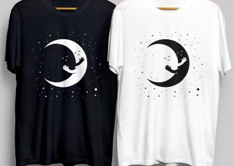 Moon Love Black and White T-Shirt Design for Commercial Use