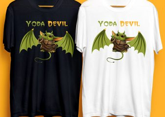 Baby Yoda Devil T-Shirt Design for Commercial Use