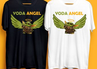 Baby Yoda Angel T-Shirt Design for Commercial Use