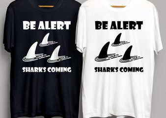 Sea Sharks Coming T-Shirt Design for Commercial Use