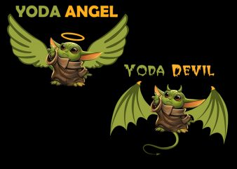 Baby Yoda Angel & Devil Bundle T-Shirt Design for Commercial Use