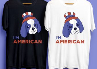 American Dog T-Shirt Design for Commercial Use