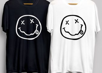 Funny Smiley Face Black and White T-Shirt Design for Commercial Use
