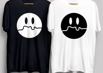 Sad Smiley Face Black and White T-Shirt Design for Commercial Use