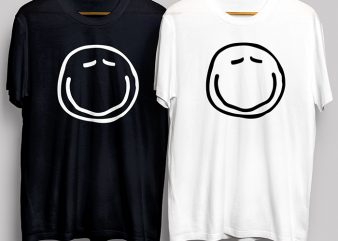 Cute Funny Smiley Face Black and White T-Shirt Design for Commercial Use