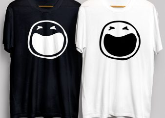 Crying Smiley Face Black and White T-Shirt Design for Commercial Use