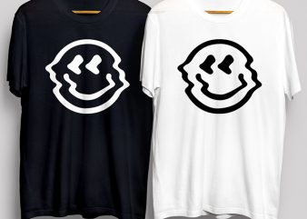 Smiley Face White & Black T-Shirt Design for Commercial Use