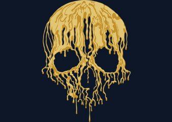 Golden Liquid Skull t shirt design to buy