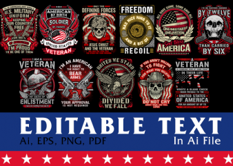 Veteran American Patriot and Gun Rights Bundle Vol 2 t shirt vector art