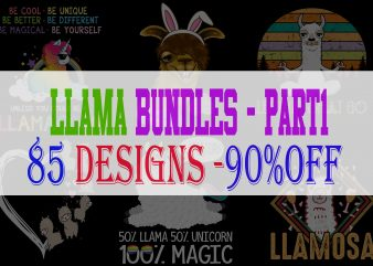 Llama Bundle Part 1 – 85 Designs – 90% OFF
