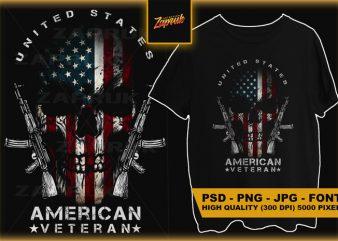 USA American Veteran Skull #3 t-shirt design for commercial use